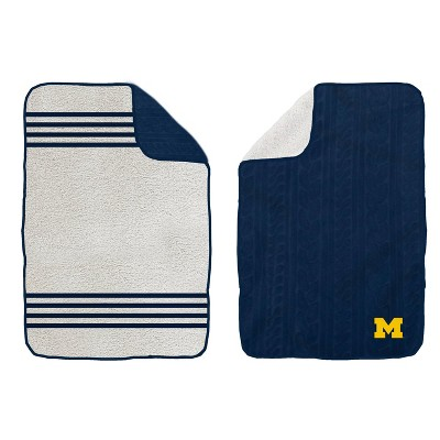 NCAA Michigan Wolverines Cable Knit Embossed Logo with Sherpa Stripe Throw Blanket