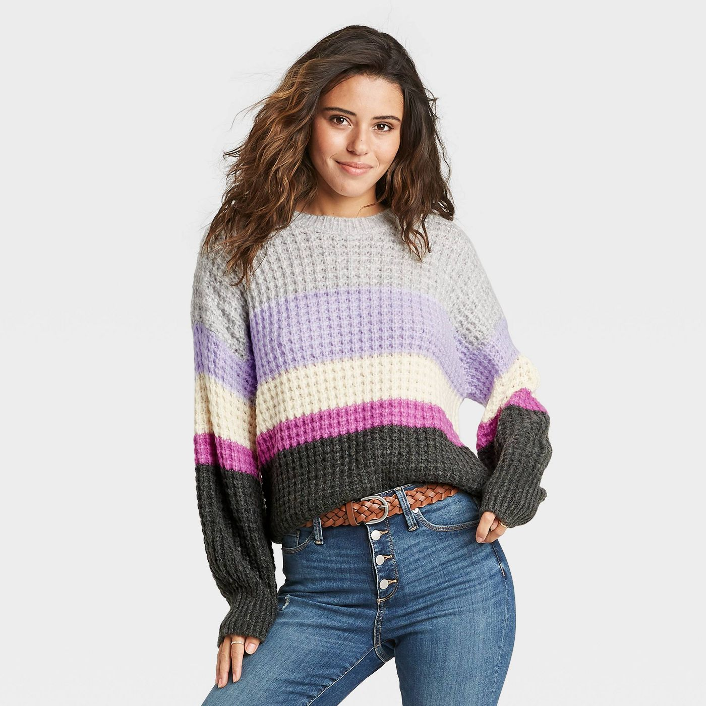 Women's Striped Crewneck Pullover Sweater - Universal Thread™ - image 1 of 8