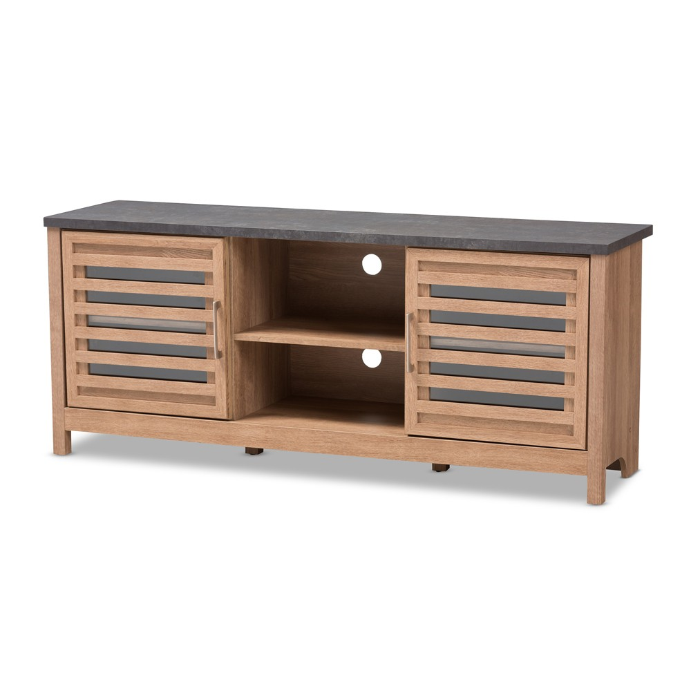 Pacific Modern and Contemporary Two Tone Finished 59 TV Stand Gray - Baxton Studio, Light Brown