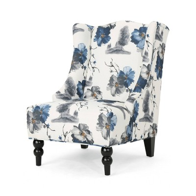 Toddman High-Back Club Chair Floral Print Blue - Christopher Knight Home