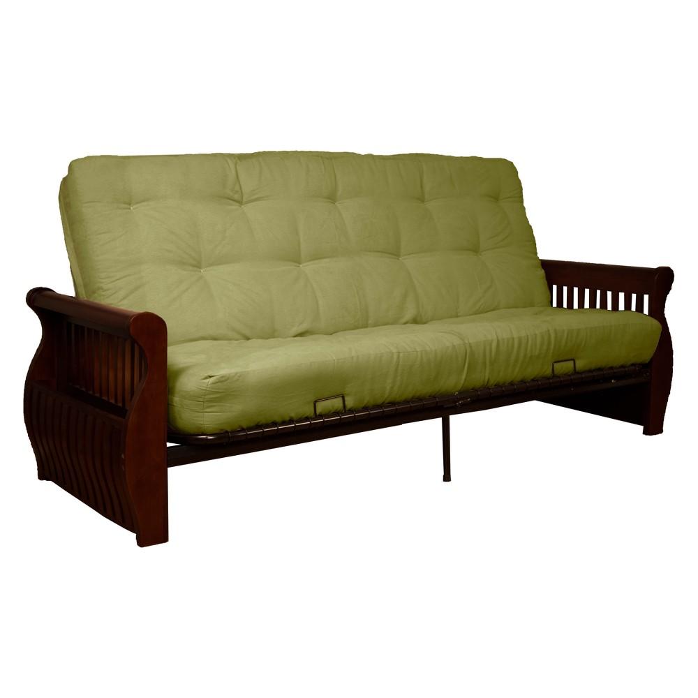 Storage Arm 8 Cotton/Foam Futon Sofa Sleeper Walnut Wood Finish Celery Green - Epic Furnishings