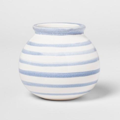 "3"" x 2.7"" Stoneware Stripped Vase White/Blue - Threshold™ - image 1 of 1"
