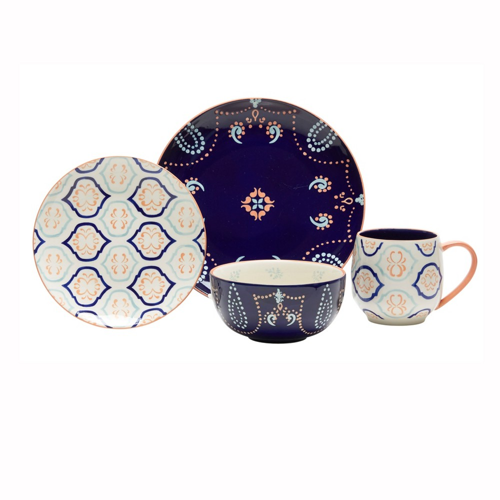 16pc Stoneware Kali Dinnerware Set Baum Bros., Blue