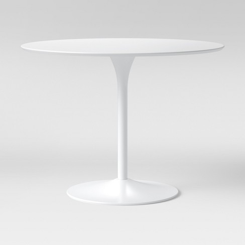 Braniff Round Dining Table Metal Base, Round White Dining Tables
