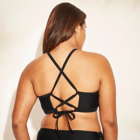 8ad691ec145 Women s Plus Size Embroidered Mesh High Neck Bikini Top - Xhilaration™  Black 16W   Target