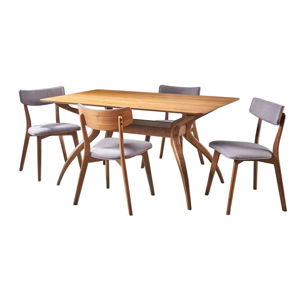 Nissie 5pc Mid-Century Dining Set - Gray - Christopher Knight Home