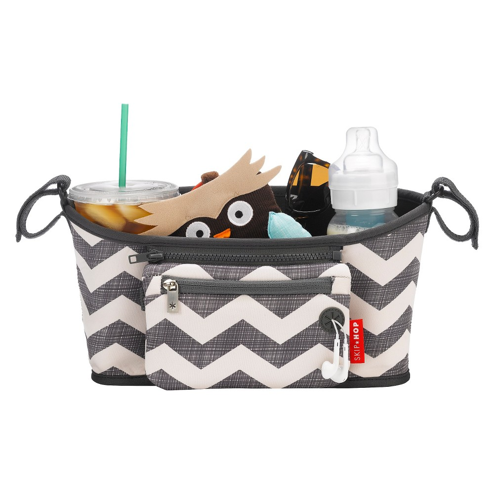Skip Hop Grab and Go Stroller Organizer - Chevron, Off White/Gray Chevron