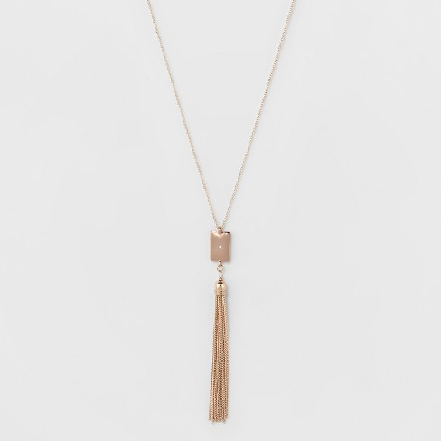 Rectangle & Chain Tassel Drops Long Necklace - A New Day™ Rose Gold - image 1 of 3