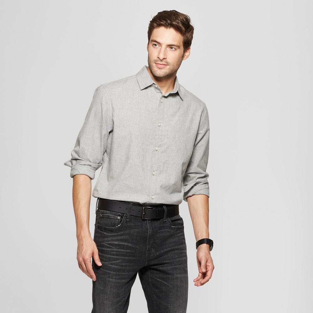 Men's Casual Fit Long Sleeve Button-Down Shirt - Goodfellow & Co Heather Grey 2XL