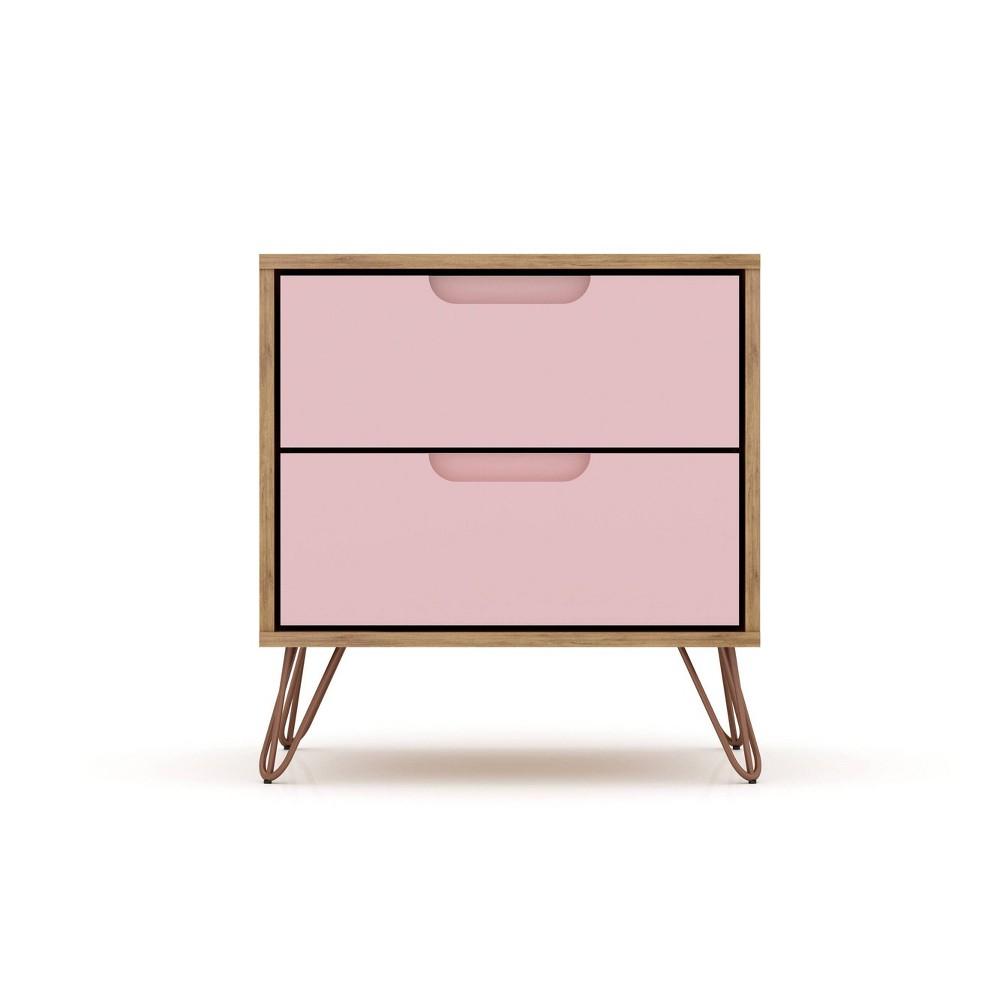 Image of 2.0 Rockefeller Nightstand Natural/Rose Pink - Manhattan Comfort