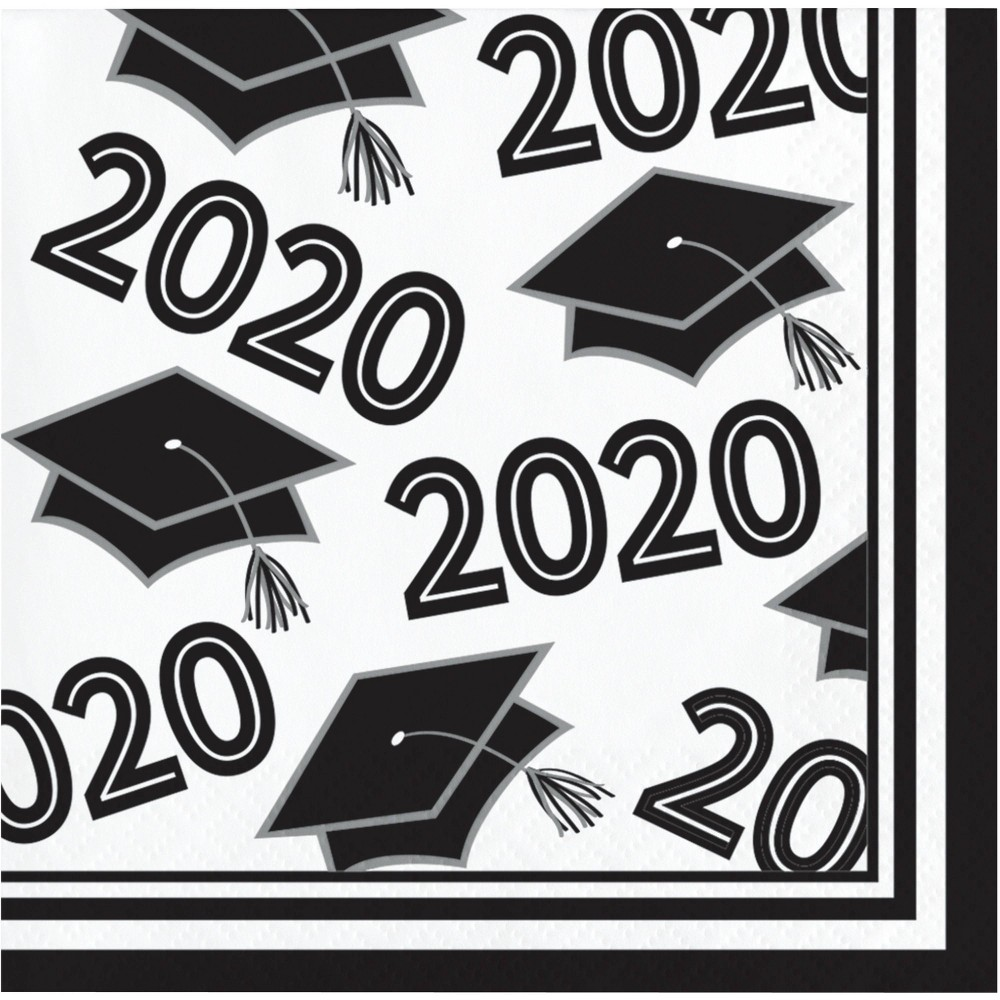 Image of 108ct Class Of 2020 Grad Beverage Napkins White