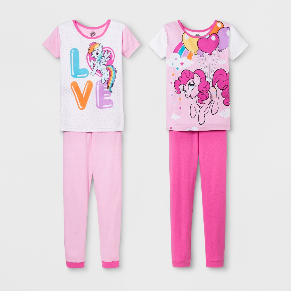 Image of Girls' My Little Pony 4pc Pajama Set - Pink 10, Girl's