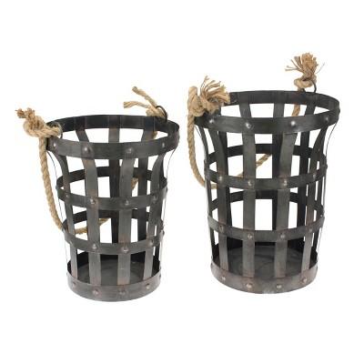 Riveted Rustic Metal Baskets Dark Brown 2pk - Stonebriar