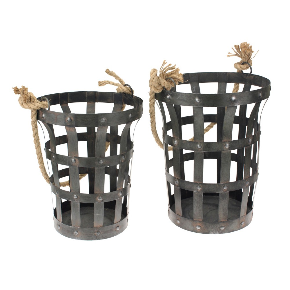 Image of Riveted Rustic Metal Baskets Dark Brown 2pk - Stonebriar