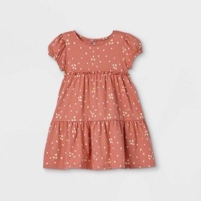 Toddler Girls' Heart Short Sleeve Dress - art class™ Coral 18M