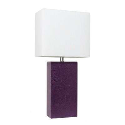 "21"" Monaco Avenue Modern Leather Table Lamp Eggplant - Elegant Designs"