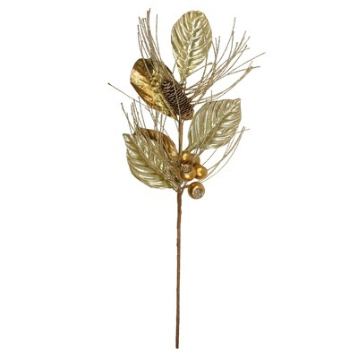 """Northlight 24"""" Gold Glittered Berries and Pine Cone Artificial Christmas Spray"""