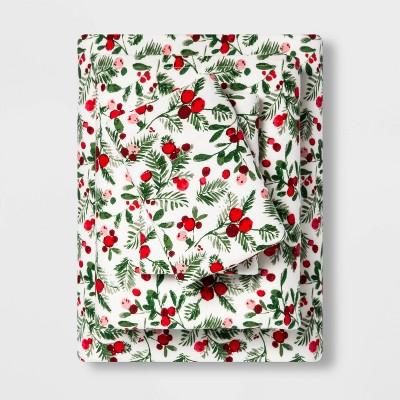 King Holiday Print Flannel Sheet Set Reactive Holly - Threshold™