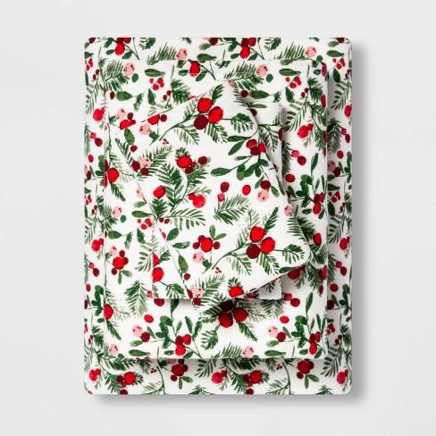King Holiday Print Flannel Sheet Set Reactive Holly Threshold Target
