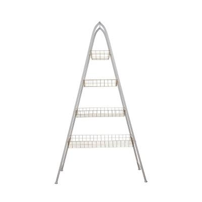 White Metal Four Tier Basket A Frame Shelving Unit - Foreside Home & Garden