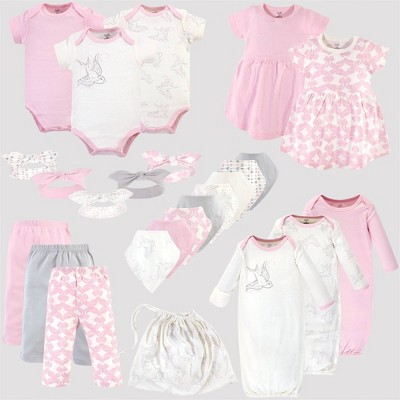Touched by Nature Baby 25pc Organic Cotton Gift Cube Bodysuit - Birds - Pink/White 0-6M
