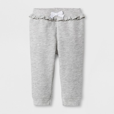 Baby Girls' Sparkle Ruffle Jogger Pants - Cat & Jack™ Gray 12M
