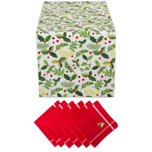 Boughs Of Holly Print Table Set - Design Imports - image 1 of 4
