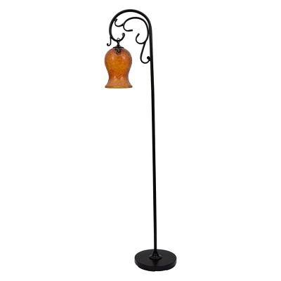 Bronze Floor Lamp With Amber Glass Shade