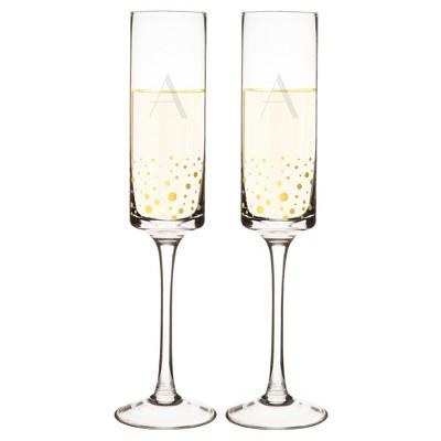 2ct Monogram Gold Dot Champagne Flute - A