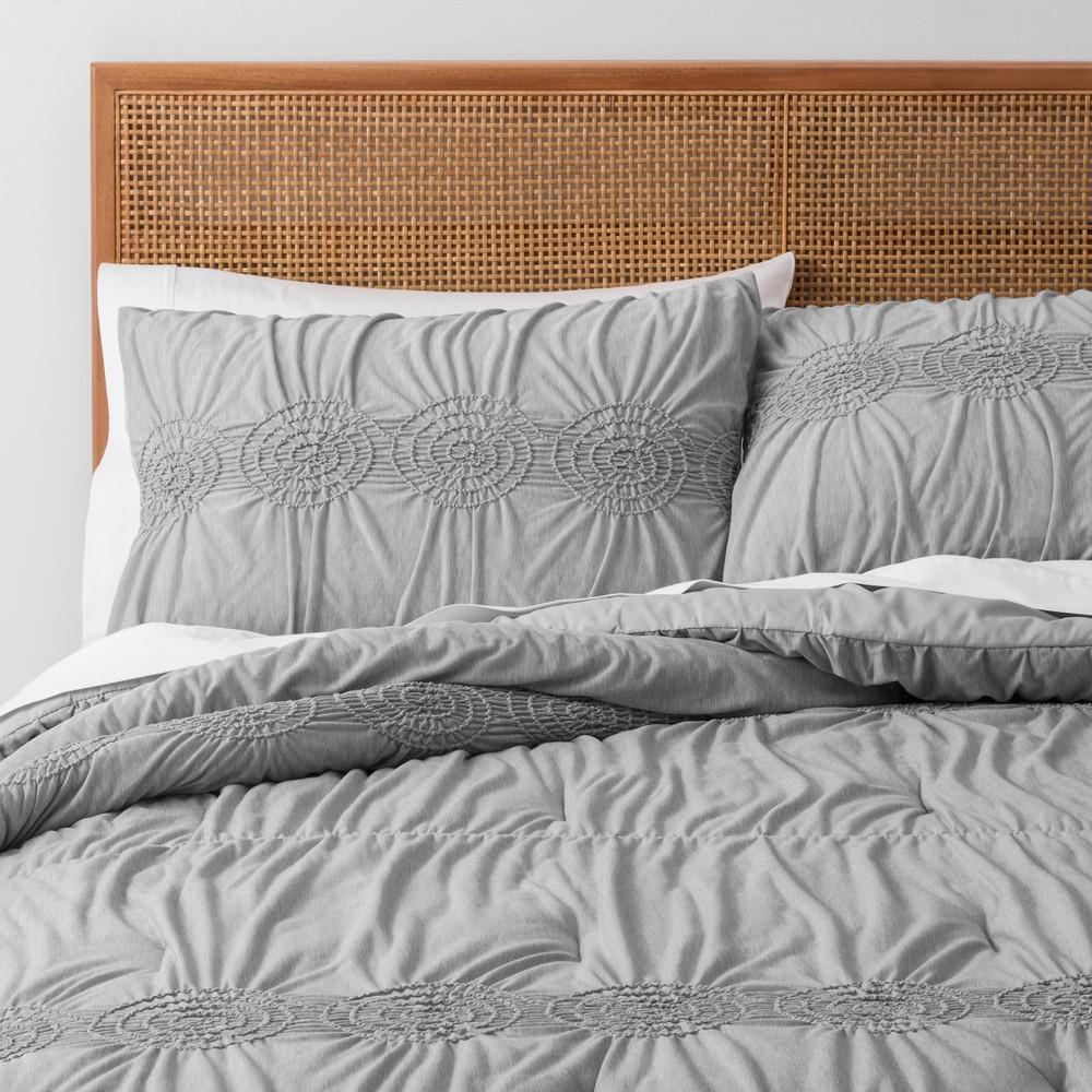 Gray Solid Ruched Jersey Duvet Cover Set (Full/Queen) - Opalhouse