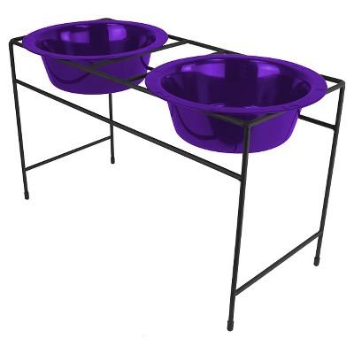 Platinum Pets Electric Purple Modern Double Cat Diner - 1 cup