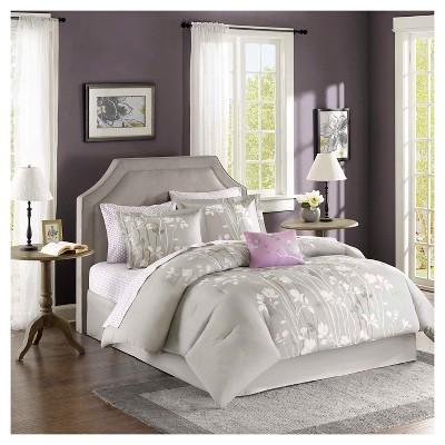 Gray Holly Comforter Set Queen 9pc
