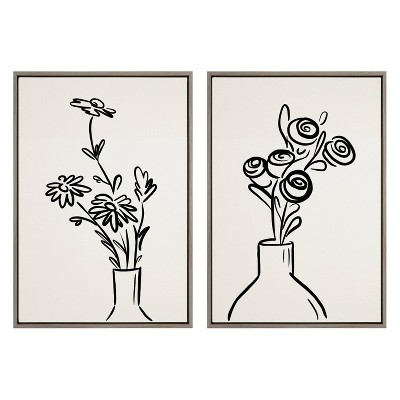 """23"""" x 33"""" 2pc Sylvie Still Life Flowers in Vase Framed Canvas Set by the Creative Bunch Studio Gray - Kate & Laurel All Things Decor"""