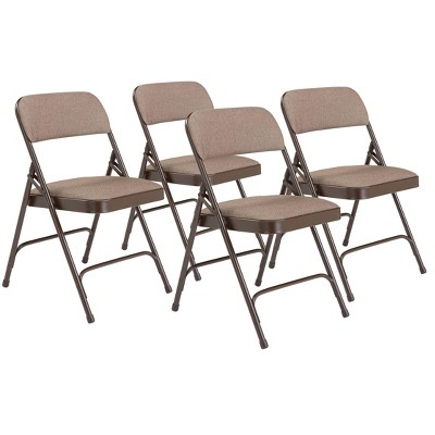 Set of 4 Deluxe Fabric Padded Folding Chairs with Frame - Hampton Collection