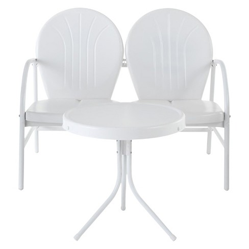 Crosley Griffith 2 Piece Metal Outdoor Loveseat and Table Set - White - image 1 of 2