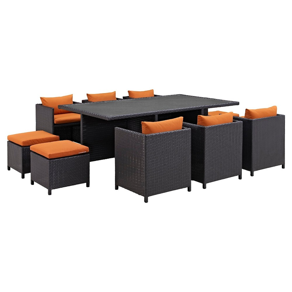 Reversal 11 Piece Outdoor Patio Dining Set in Espresso Orange - Modway