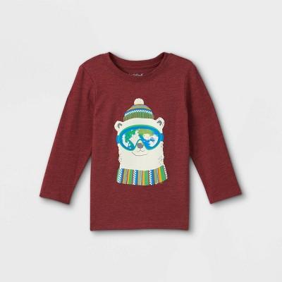 Toddler Boys' Polar Bear Goggles Graphic Long Sleeve T-Shirt - Cat & Jack™ Maroon