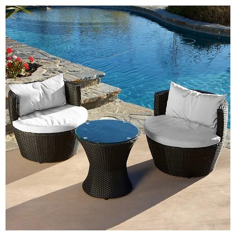 Kono 3pc Wicker Patio Set Black, 3 Piece Wicker Patio Conversation Set With Beige Cushions