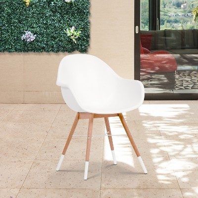 Delicieux 4pc Metz Wood/Resin Patio Dining Armchair Set White   Amazonia