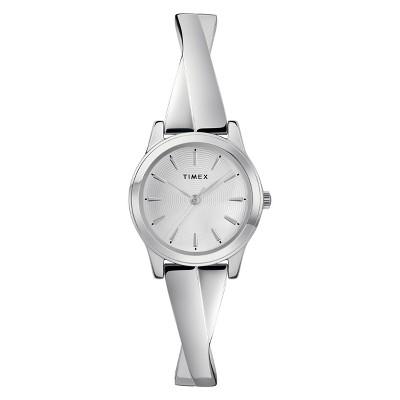 Women's Timex Stretch Bangle Watch - Silver TW2R98700JT