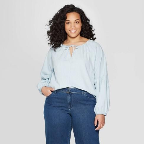 Women\'s Plus Size Long Sleeve V-Neck Peasant Top - Universal Thread ...