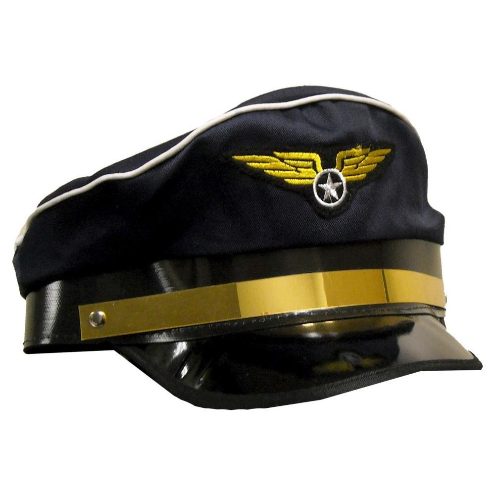 Image of Halloween Adult Airplane Pilot Hat Blue, Adult Unisex