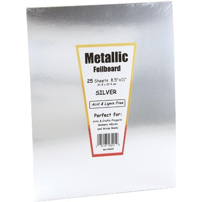 Hygloss Metallic Foilboard, 8-1/2 x 11 Inches, Silver, 25 Sheets