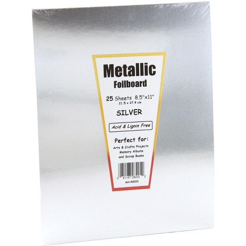 Hygloss Metallic Foilboard, 8-1/2 x 11 Inches, Silver, 25 Sheets - image 1 of 1