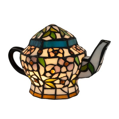 Teapot Lamp-Tiffany Style Stained Glass Light (Includes LED Light Bulb)