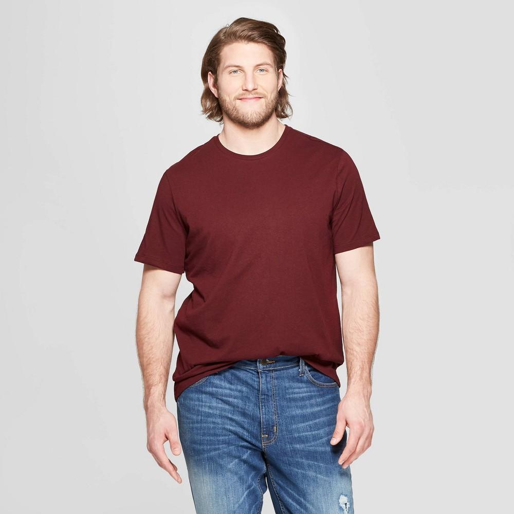 Men's Tall Standard Fit Short Sleeve Lyndale Crew T-Shirt - Goodfellow & Co Pomegranate Mystery Xlt