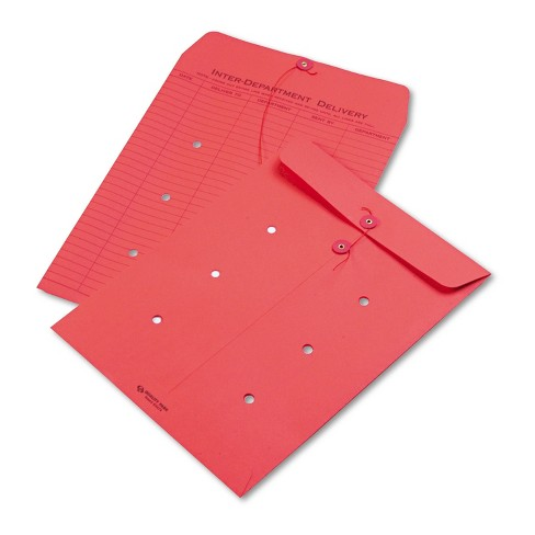 Quality Park Colored Paper String & Button Interoffice Envelope 10 x 13 Red 100/Box 63574 - image 1 of 1