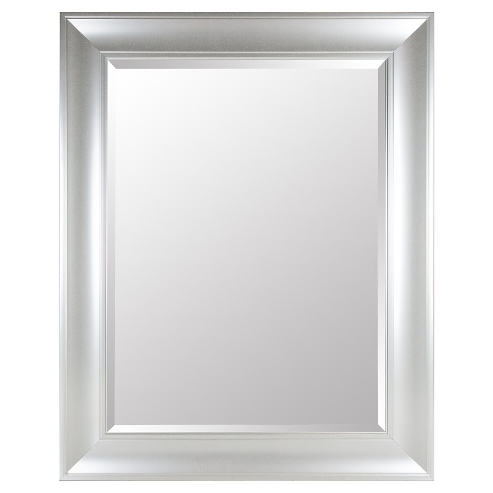 Image of Rectangle Beveled Decorative Wall Mirror with Wide Profile Silver - Gallery Solutions