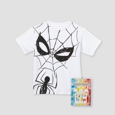 Kids' Marvel Spider-Man Short Sleeve Graphic T-Shirt with Tie-Dye Kit - White