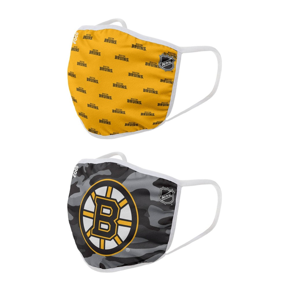 Nhl Boston Bruins Adult Face Covering 2pk